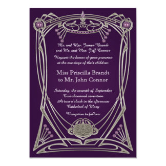 Wedding invitation violet & gold