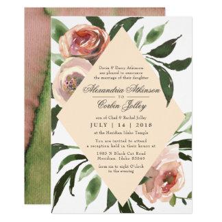 WEDDING INVITATION | Watercolor Sage Blush Florals