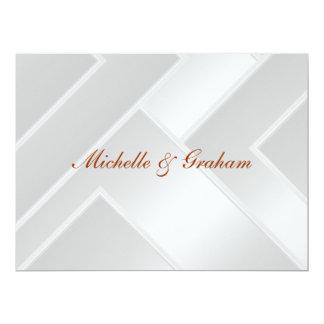 """Wedding Invitation White Art Deco 6.5"""" X 8.75"""" Invitation Card"""