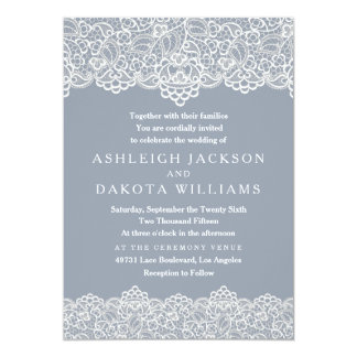 Wedding Invitation | White Lace on Slate Blue