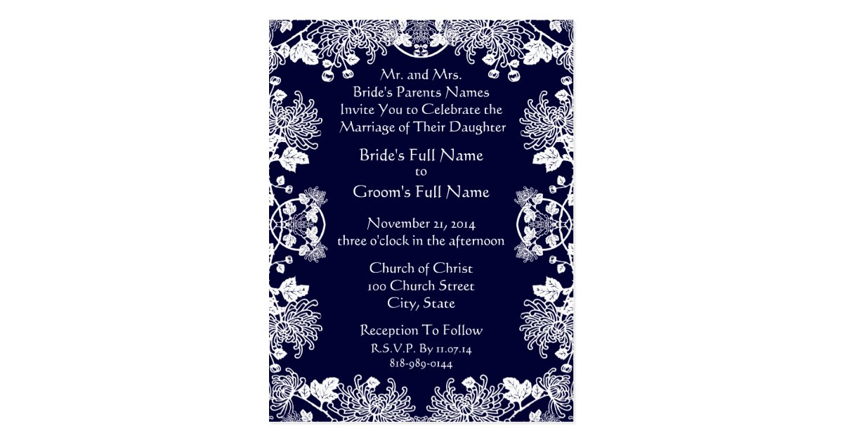 Wedding Invitation White On Midnight Blue Vintage Postcard | Zazzle.ca