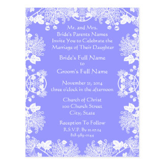 Wedding Invitation White On Powder Blue Vintage Postcard