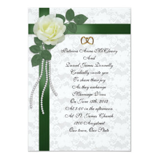 Wedding Invitation  white rose, green ribbons