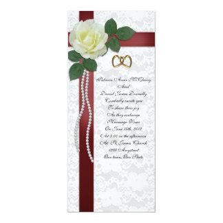 Wedding Invitation  white rose, red ribbons