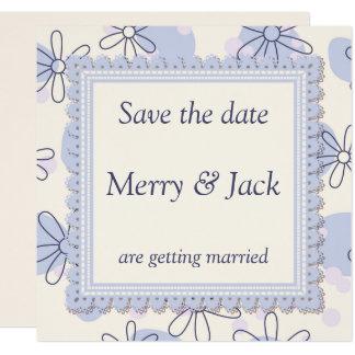 Wedding invitation with blue vintage flowers