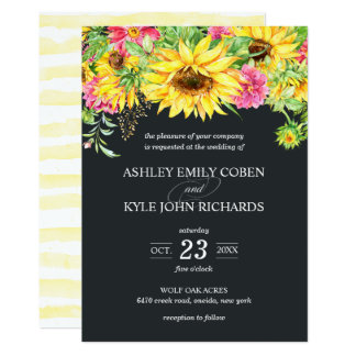 Wedding Invitation with Cascading Sunflowers
