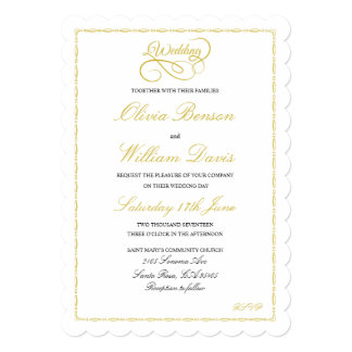Wedding Invitation with Gold Frame & Graphic