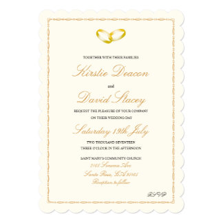 Wedding Invitation with Joined Gold Rings Graphic