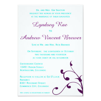 Wedding Invitation with Turquoise and Purple