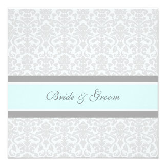 Wedding Invitations Blue Gray White Damask