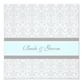 Wedding Invitations Blue Gray White Damask