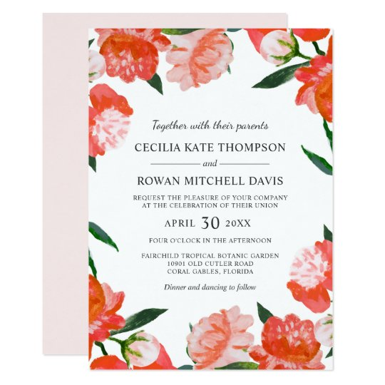 Wedding Invitations | Coral Watercolor Flowers
