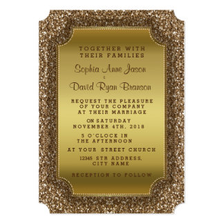Wedding Invitations | Gold Glitter Invitation