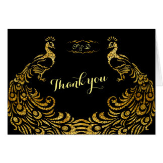 Wedding Invitations | Gold Peacock Black THANK YOU