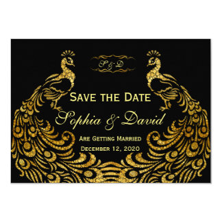 Wedding Invitations | Gold Peacock SAVE THE DATE