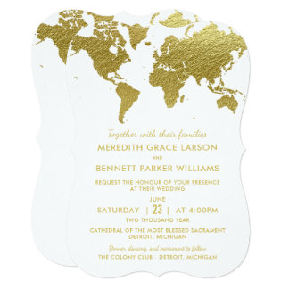Wedding Invitations | Gold World Map