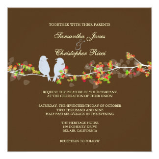 Wedding Invitations love birds colorful blossoms