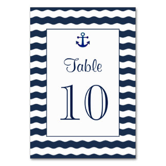 Wedding Invitations | Nautical Navy Table Number Table Cards