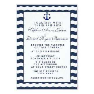 Wedding Invitations | Nautical Navy Waves Anchor