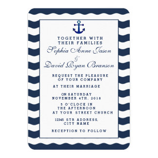 Wedding Invitations | Nautical Navy Waves Anchor