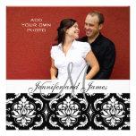 Wedding Invitations with Engagement Photo Damask