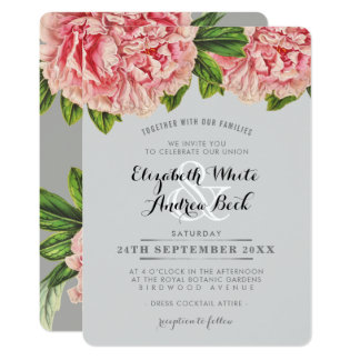 WEDDING INVITE chic blush pink floral peony flower