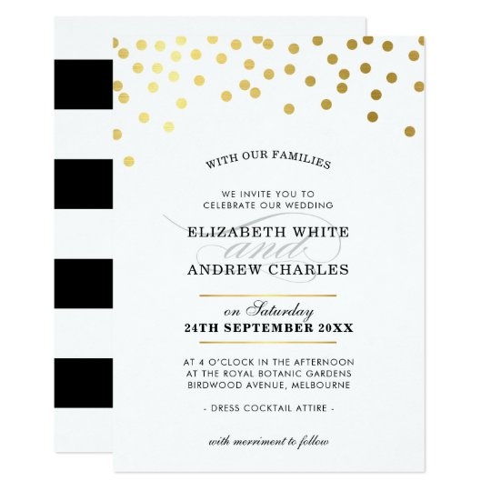 WEDDING INVITE chic modern gold confetti spots