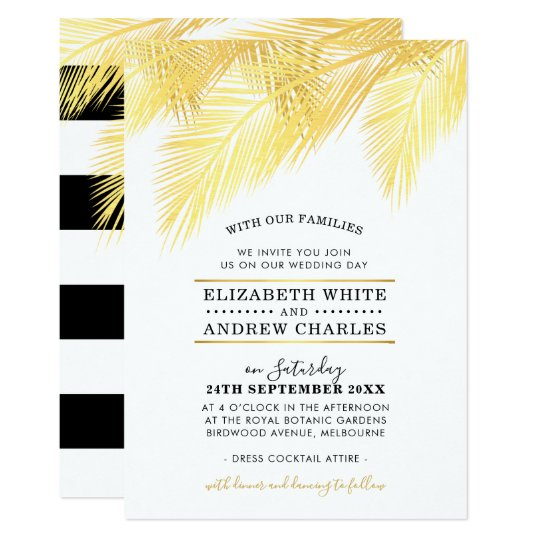 WEDDING INVITE chic modern gold palm fronds leaves