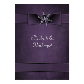 Wedding Invite Diamond Snowflake & Satin Ribbons