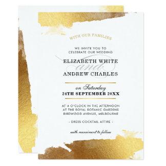 WEDDING INVITE modern luxe gold gilded edges