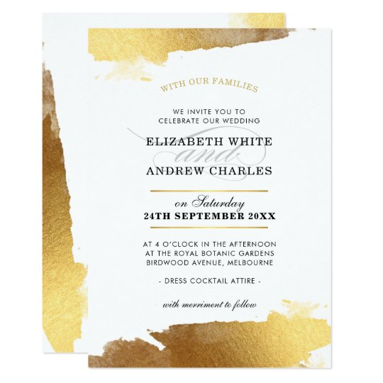 WEDDING INVITE modern luxe gold gilded edges