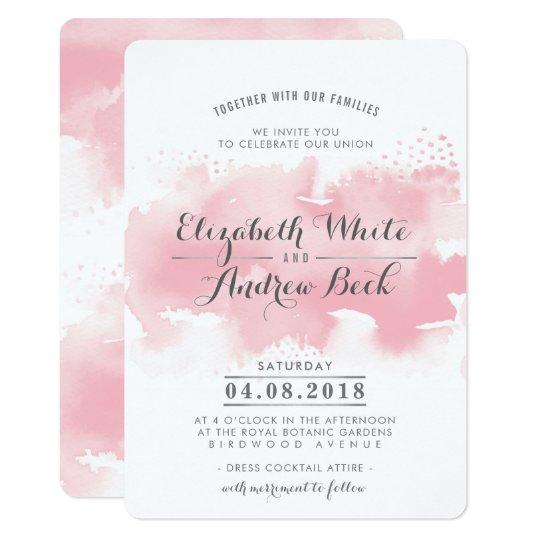 WEDDING INVITE stylish chic watercolor blush pink