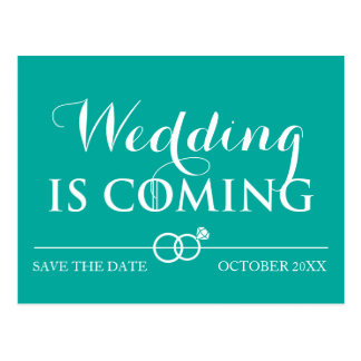 Wedding Is Coming Save the Date White Postcard