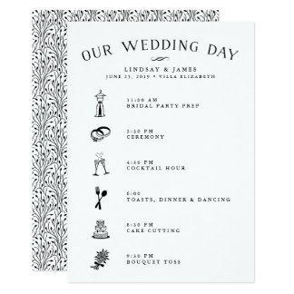 Wedding Itinerary Card for Bridal Party & Vendors