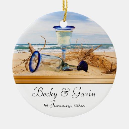 Wedding Keepsake Beach Wedding Christmas Ornaments