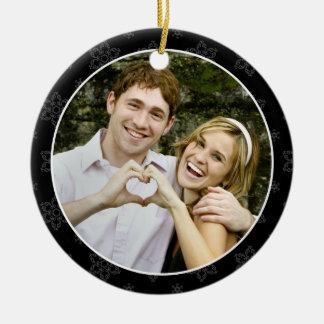 Wedding Keepsake Photo Ornament in B&W