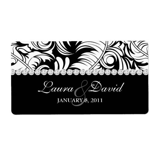 Wedding Label Leaf Swirls 'n Jewelry