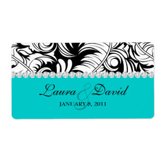 Wedding Label Leaf Swirls 'n Jewelry Blue Shipping Label
