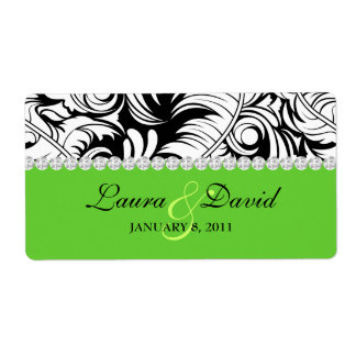 Wedding Label Leaf Swirls 'n Jewelry Lime Green Shipping Label