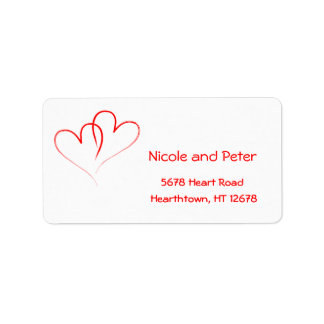 Wedding Label - Two Red Hearts Address Label