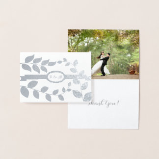 Wedding Leaves in Silver with Initials Custom Text Foil Card