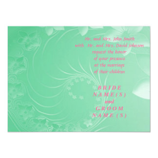 Wedding - Light Green Abstract Flowers Personalized Announcements