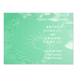Wedding - Light Green Abstract Flowers Personalized Invitations