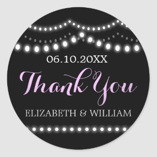 Wedding Lights Thank You | Lavender, Purple, Black Round Sticker