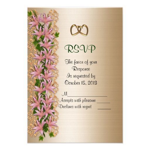 wedding Lilies RSVP response card Announcements