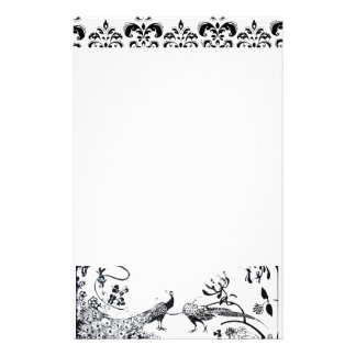 WEDDING LOVE BIRDS Black White Peacocks Damask Stationery