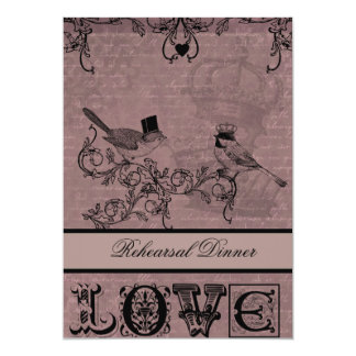 Wedding Love Birds Rehearsal Dinner Invitation