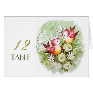Wedding Love Birds Table Place Number Card