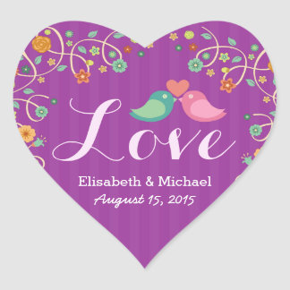 Wedding Love Heart Purple Swirl Floral Love Birds Heart Sticker