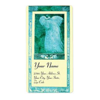 WEDDING LOVE PEACOCK , blue turquase cream Shipping Label